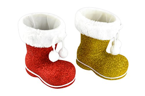 * Nikolausstiefel in vielen Größen und Farben zum Befüllen und als Deko | Weihnachtsmannstiefel Dekostiefel Geschenkstiefel Adventsstiefel Weihnachtsstiefel | winzig bis riesengroß (S | 2 x Stiefel mit Glitzerüberzug in Rot und Gold)