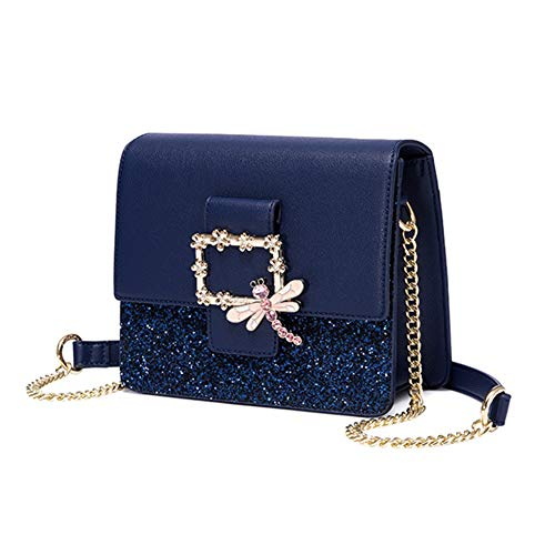 ZM Frauen Echtes Leder Tasche,Damen Tasche,Marken Handtaschen PU Lässige Mode Kristallbohrkette Geburtstagsgeschenk(Blau),Blue