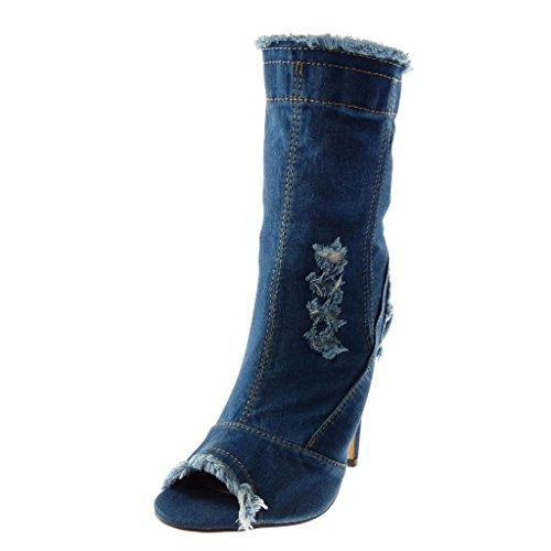 Di A Blu Scuro Pattino Angkorly Di Sfilacciato 12 Donna Modo Jeans Alto Tacco toe Denim Stiletto Spillo Cm Peep Strappato Taglio HRRZqIx4w