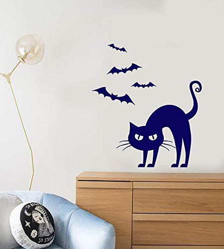 ZSNASD Wandaufkleber Vinyl Wandtattoo Cartoon Gotische Katze Maskottchen Bat Halloween Weihnachtsfeier Dekoration Dekoration Wsj17 Innendekoration 42 * 48 Cm