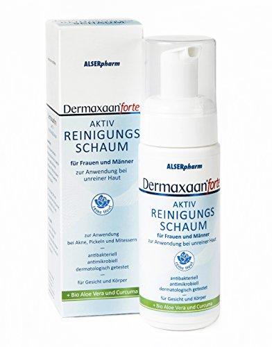 Dermaxaan forte Haut Reinigung | Reinigungsschaum mit Bio Aloe Vera • Curcuma Extrakt • Salicylsäure | Pflege bei Akne • Pickel • Mitesser | 150 ml (Reinigungsschaum Akne)