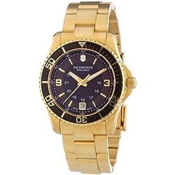 Victorinox Swiss Army Maverick 241614 - Reloj analógico de cuarzo para mujer, correa de acero inoxidable chapado color dorado (agujas luminiscentes)