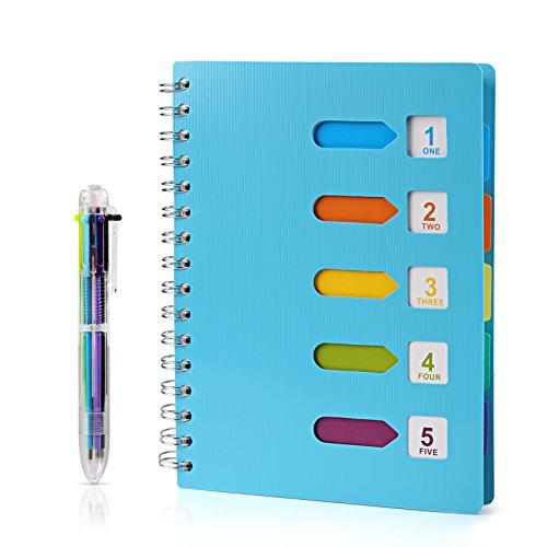 Kesoto a5 taccuino ad anelli con etichette di 6 colori e una penna a sfera di 6 colori a5 quaderno per scuola, ufiicio o casa, 120 fogli