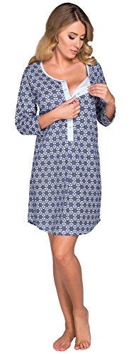 Italian Fashion IF Damen Stillnachthemd Aida 0111 (Blau, XXL) Aida-form