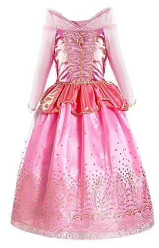 KABETY Mädchen Prinzessin Aurora Kostüm Party Kleid - Rosa - 6-7 Jahre (Herstellergröße: 140) (Aurora Kostüm Kleid)
