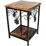 Online Collection Wooden and Wrought Iron Side End Coffee Table Walnut Size LXWXH - 27X27X38 cm