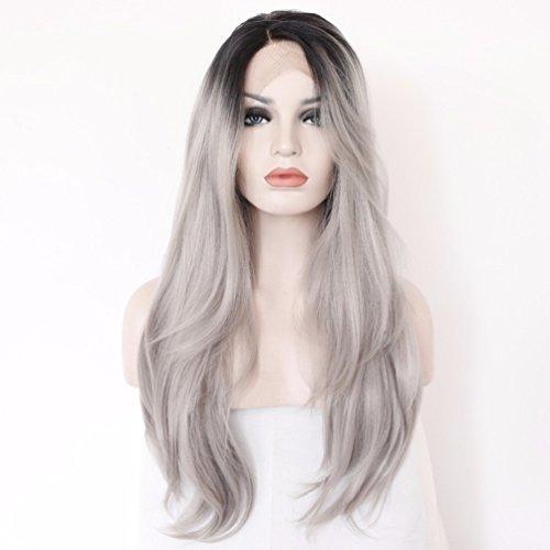 Lace Front Perücke Teil handgefertigt schwarz grau hitzebeständig Haar synthetische Perücke für Party