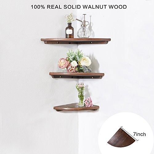Eckregal aus Holz 1 Stück, runde Enden, walnuss, Bücherregal, Ausstellungsregal, für Schlafzimmer Massivholz ,Radius 18 cm -