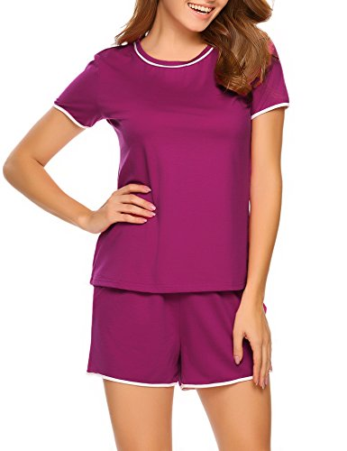 Nachtwäsche Damen Baumwolle kurz Set Pyjama Hosen top Shirt lila L