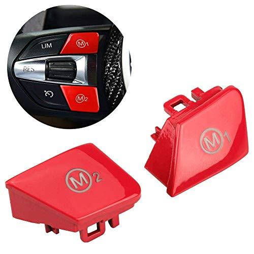 HYCy Lenkrad Tempomat Schalt knopf Kit 1 Paar Auto Lenkrad M1 M2 Modus Schaltknopf fuuml;r M3 M-4 F80 F82 F83 (Rot) (Lenkrad-kits)