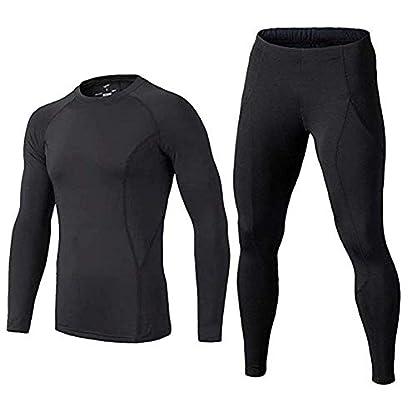 BUYKUD Kids' Boys Long Sleeve Base Layer Compression Underwear Athletic Shirt Tights Top & Bottom Set 1