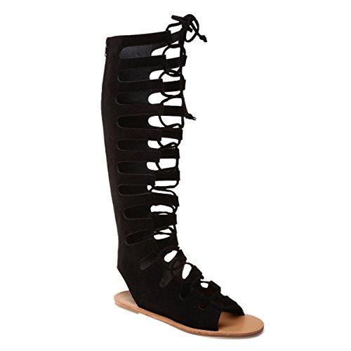 La Modeuse - Sandales noires montantes style spartiate en simili daim Noir
