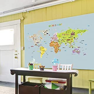 Ambiance World Map Giant Wall Sticker for Children, 120x 150cm