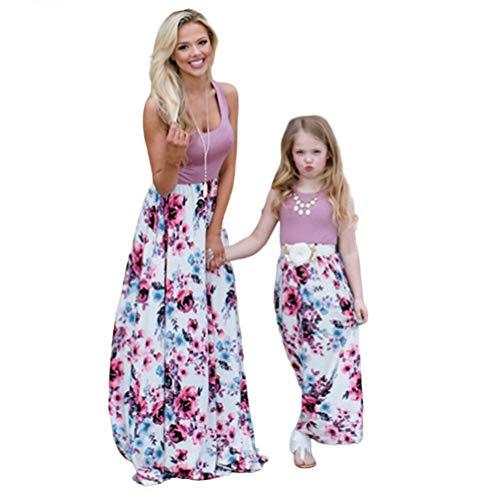 de Maxi Kleid Beiläufige Familie Kleidung Mädchen Kleid Mutter Und Tochter Beiläufig Boho Ärmelloses Splice Strandkleid (rosa, S) ()