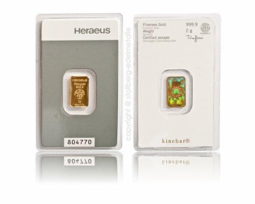 Heraeus Kinebar 2g Gramm Goldbarren 999.9