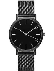 Sannysis Reloj de pulsera banda de Acero inoxidable (Negro)