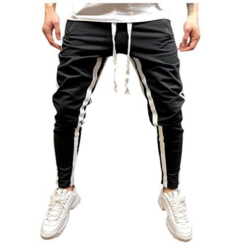 MINIKIMI Herren Cargo Chinohose Jogger Hose Fitness Jogginghose Baggy Sport Drawstring Sporthose Hippie Hose Streetwear - Trendige Weites Bein