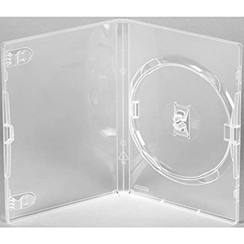 MasterStor (Pack Of 50) Clear Single Amaray DVD/CD/BLU RAY Case, Unique, patent, stress-free locking disc hub