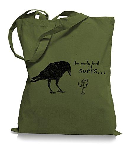 Ma2ca® The Early Bird Sucks - Jutebeutel Stoffbeutel Tragetasche / Bag WM101 Olive Green