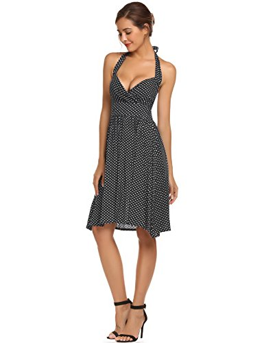 Meaneor Damen Polka Dots Neckholder Kleid A-Linie 50er Vintage Wickelkleid Cocktailkleid mit Punkten Schwarz