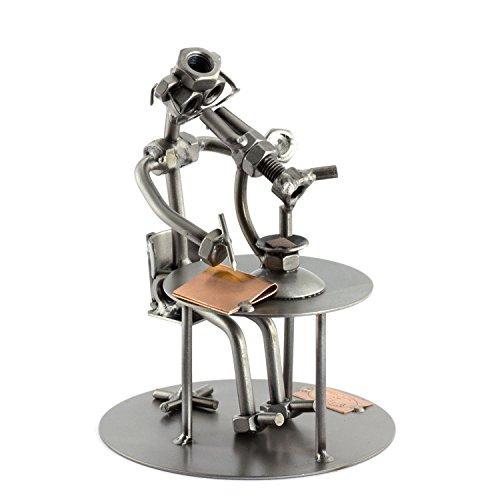 Steelman24 I Schraubenmännchen Biologe Mit Mikroskop I Made in Germany I Handarbeit I Geschenkidee I Stahlfigur I Metallfigur I Metallmännchen (Mikroskop Für Beste Kinder)
