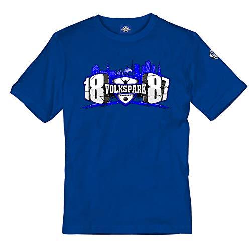 Kinder T-Shirt 1887 Logo Volkspark Hamburg Blau 164
