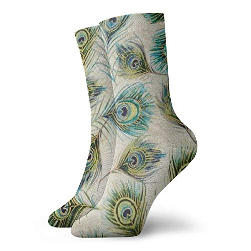 ouyjian Peacock Feather Crew Socks Funny Novelty Thin Casual Sport Comfort Work 11.8