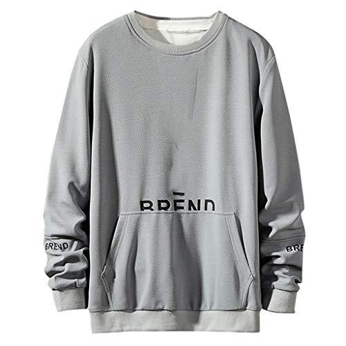 BHYDRY Der Neue Art-beiläufige Art- und Weisepatchwork-Oansatz-Lange Hülsen-T-Shirt Spitzenbluse der Männer(XXX-Large,Grau)