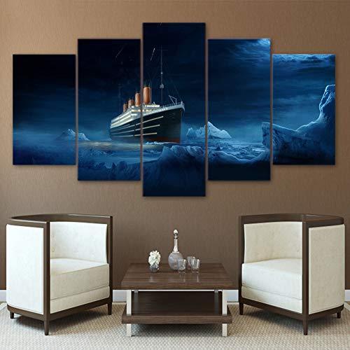 XLST Home Decor für Wohnzimmer 5 Panel Titanic Iceberg Film Poster HD Gedruckt Wand Kunst Leinwand,B,10X15X210X20X210X25X1 - Hd Titanic