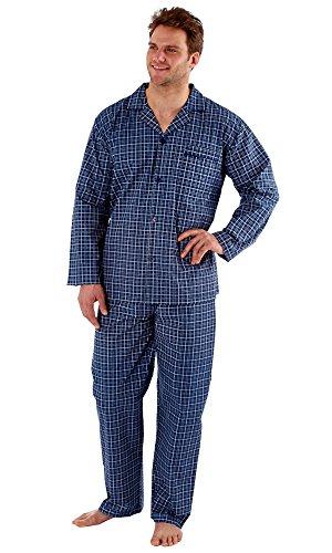 Gensen Herren Schlafanzug blau blau Navy Check (Long)