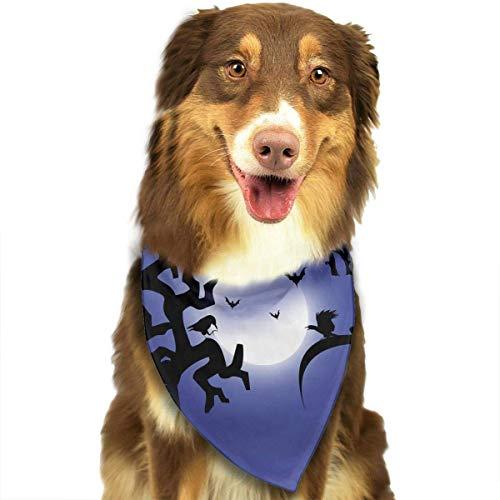 Wfispiy Hund Bandana Haustier Schal Halloween Scary Night Classic Pet Bandana Haustier Halsbänder für Hund Katze eine Größe
