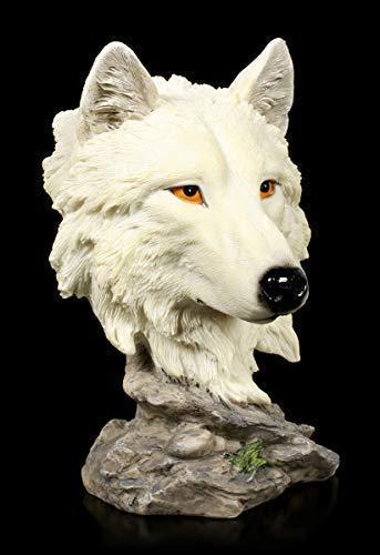 Figuren Shop GmbH Dekofigur Wolf Büste - Lonely Hunter | Tierskulptur, Handbemalt