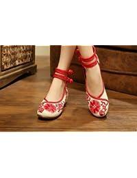 &HZOU Viento de alta de las mujeres de estilo chino tradicional / / zapatos bordados zapatos/pueblos/primavera/verano/otoño/elegante , sun red , 35