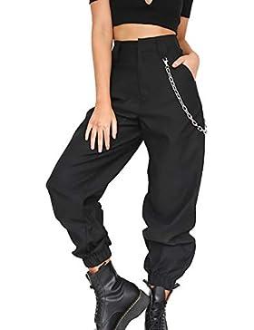 Simple-Fashion Mujeres Moda Cintura Alta Deportiva Pantalones de Jogging Trotar Aptitud Casual Suelto Largas Pantalón...