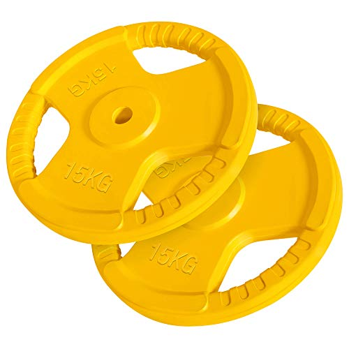 GORILLA SPORTS® Hantelscheiben-Set 30 kg Gummi Gripper – 2 x 15 kg Gewichte mit 30/31 mm Bohrung