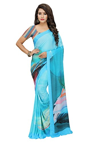 Albella Fashion Turquiose Crepe Silk Fabric Digital Print Saree With Printed Blouse...