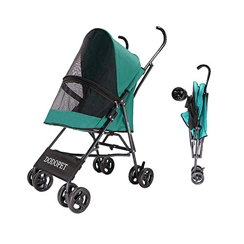 Buggy für kleine Hunde Pet Travel Carrier 4 Rollen für Katzen und Hunde Leichter Buggy Outing Cart Leichter Faltbarer Pet Buggy Pet Roadster (Color : Green)