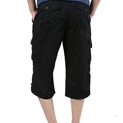 Liusdh Shorts Herren Sommer Lose Baggy Pants Beiläufige Lose Stretch Cropped Pants Overalls(Black,2XL) -
