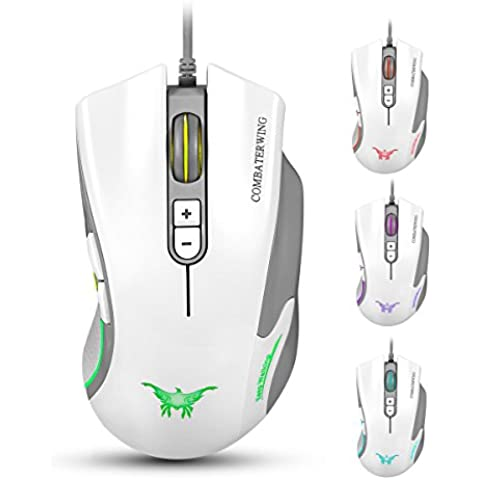 Combaterwing CW10 4800 DPI Wired Gaming Ratón 7 botones LED de 6 Respiración colores para Gamer PC y Mac Negro blanco CW10 White