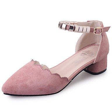 delle donne sandali estivi Comfort PU esterna tacco basso fibbia Almond Blushing Rosa Nero Walking US5.5 / EU36 / UK3.5 / CN35