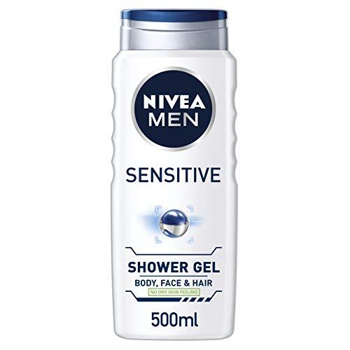 NIVEA MEN Shower Gel, Sensitive, 500 ml, Pack of 6