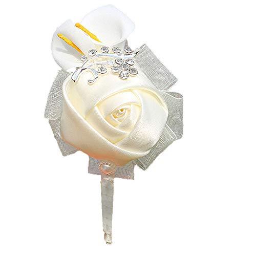 (Treestar Hochzeits-Brosche für Damen, Brautjungfern, Schleife mit Rose, Blumenapplikation mit Rückseite für Kleider, Kleidung, Anzug, Dekoration)