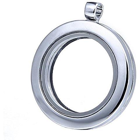 Nutbio (TM) Living Memory cuore / pendente della collana rotonda Locket Per Floating fascini di vetro - Fascini Del Cuore Di Vetro