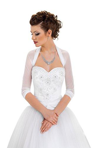 Bolero Bolerojäckchen Hochzeit Jacke Tuch für die Braut Elfenbein weiß elastischer Tüll...