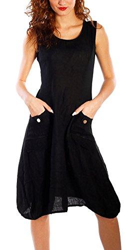 er Strand Elegant Casual A-Linie Kleid Ärmellos Sommerkleider (M, Schwarz) ()