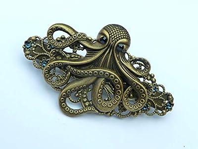 Barrette steampunk avec pieuvre en bronze