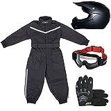 Leopard LEO-X15 Negro Mate Casco de Motocross para Niños (XL 55cm) + Gafas + Guantes (XL 8cm) + Traje de Motocross para Niños - XS (3-4 Años)