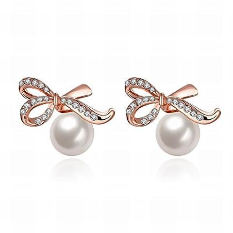 ein Paar Kleine und Exquisite Mode K Gold Romantische Bogen Perle Modelle Frau Ohrringe / Anti-allergische / Perle Ohrringe,Als Show