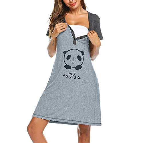 MISSWongg Frauen Maternity Kleid Umstandsmode Schwangerschaftskleid Maternity Kleid Nettes Stillnachthemd mit Print Schwangere Kleidung