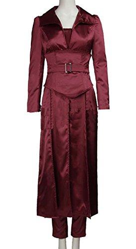 Halloween Jean Grey Kostüm Rötlich Braun Satin Outfit mit Zubehör für Erwachsene Damen Verrücktes Kleid (Kostüm Jean)